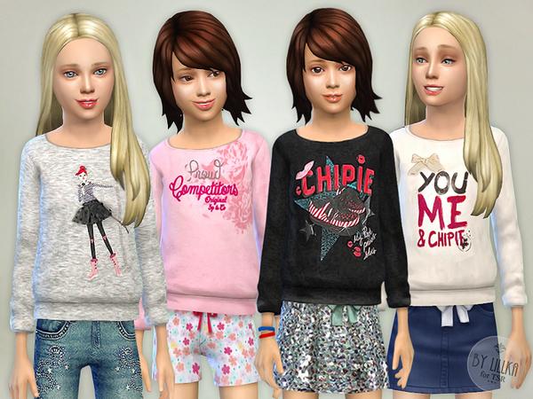 Sims 4 Printed Sweatshirt for Girls P04 by lillka at TSR