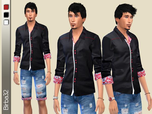 Sims 4 Black and red shirt by Birba32 at TSR