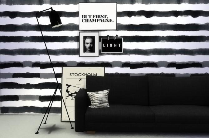 Black Amp White Striped Wall At Sim Mu 187 Sims 4 Updates