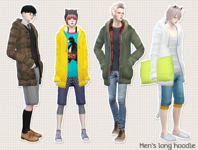 Men's long hoodie at Imadako image 1264 670x509 Sims 4 Updates