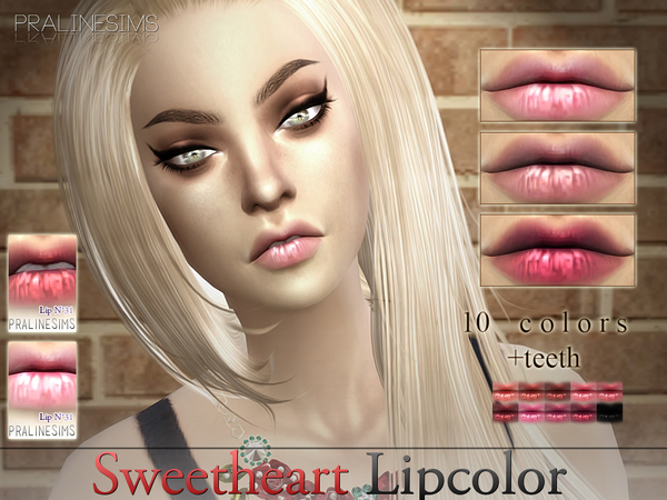 Sims 4 Sweetheart Lipcolor N31 +Teeth by Pralinesims at TSR
