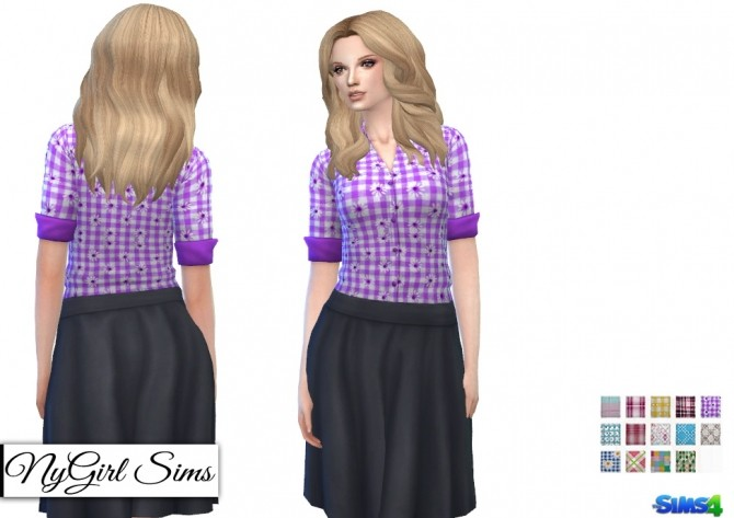 Sims 4 Plaids and Prints Tucked Button Down at NyGirl Sims