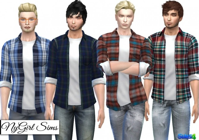 Sims 4 Plaid Button Up with Tee at NyGirl Sims