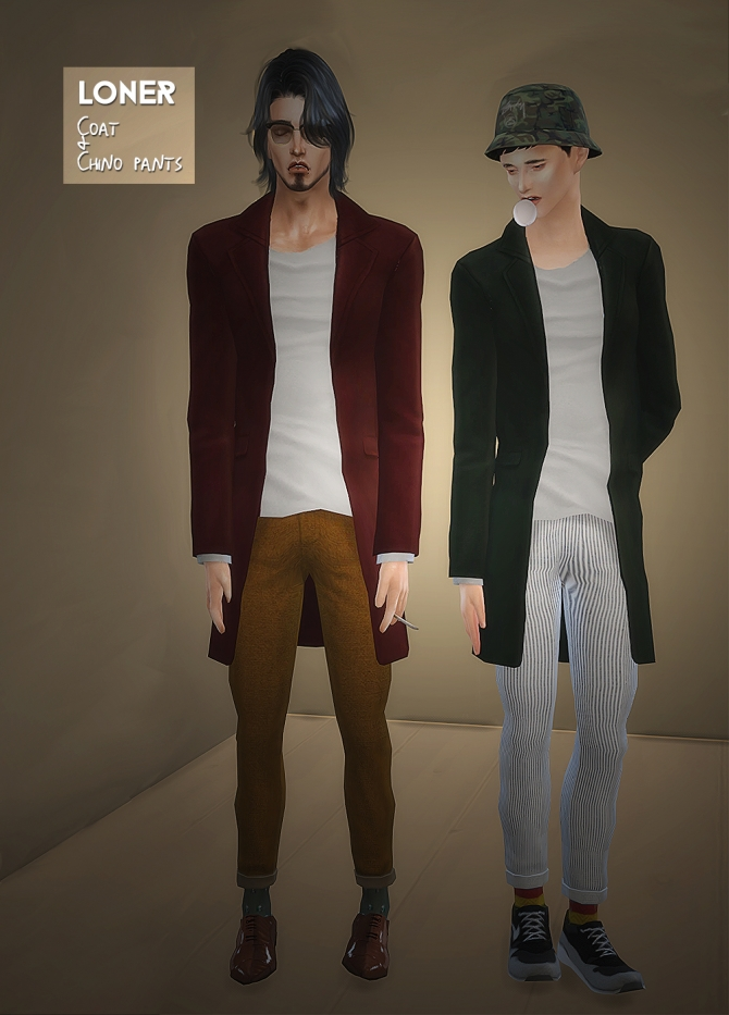 Male Coat Amp Chino Pants At Loner 187 Sims 4 Updates