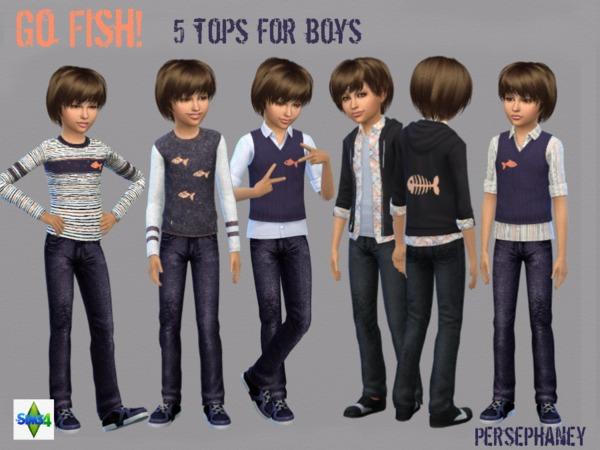 Sims 4 Go Fish! Boys Shirt Set by Persephaney at TSR