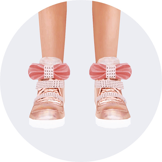 Sims 4 Child bow high top sneakers at Marigold