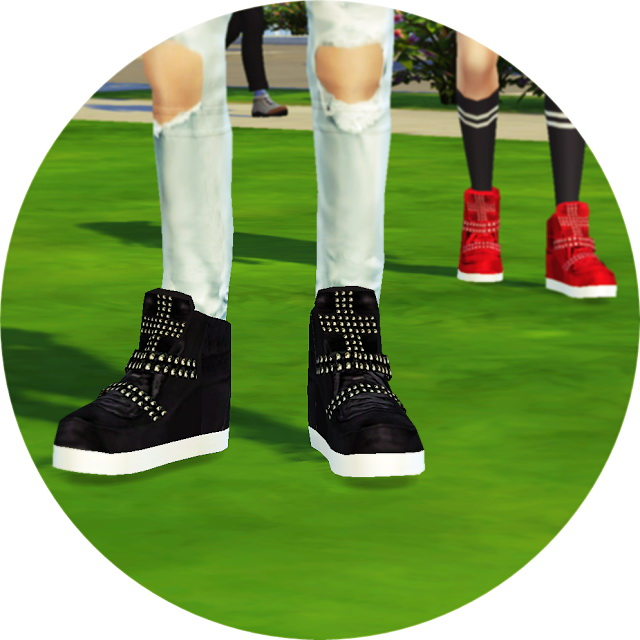 Male cross stud high top sneakers at Marigold image 17310 Sims 4 Updates