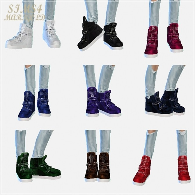 Sims 4 Male cross stud high top sneakers at Marigold