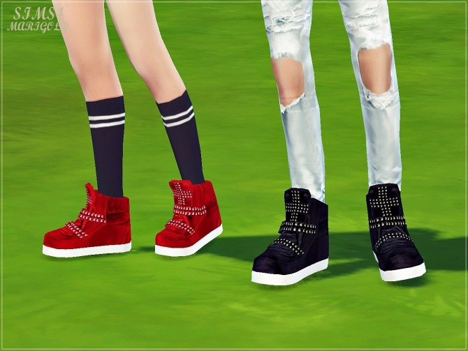 Male cross stud high top sneakers at Marigold image 1778 670x503 Sims 4 Updates