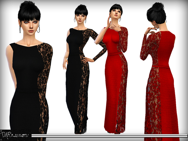 One Shoulder Lace Panel Maxi Dress by DarkNighTt at TSR image 1785 Sims 4 Updates