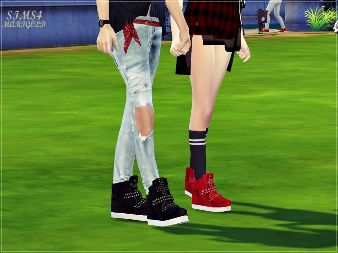Male cross stud high top sneakers at Marigold image 1788 670x502 Sims 4 Updates