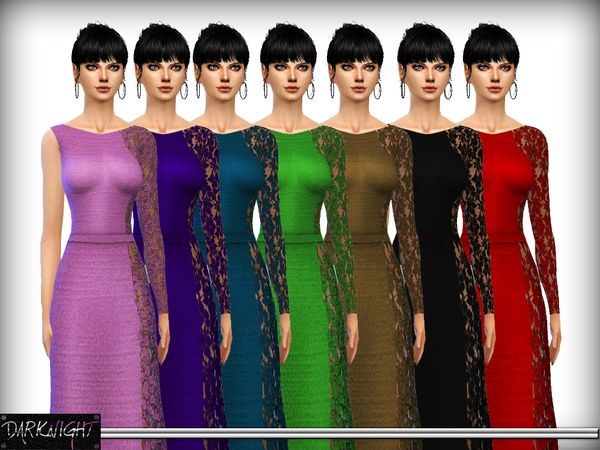 One Shoulder Lace Panel Maxi Dress by DarkNighTt at TSR image 1795 Sims 4 Updates