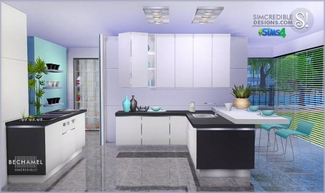 Bechamel kitchen at SIMcredible! Designs 4 image 181 670x397 Sims 4 Updates