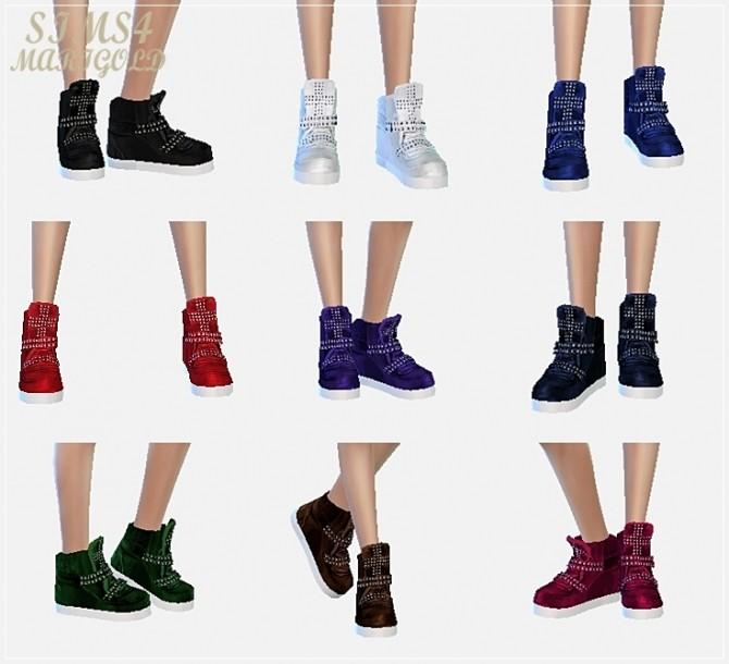 Sims 4 Female cross stud high top sneakers at Marigold