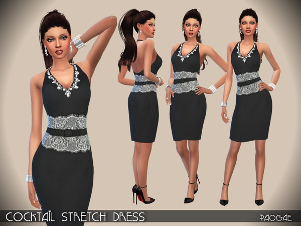 Cocktail Stretch Dress by Paogae at TSR image 1827 Sims 4 Updates