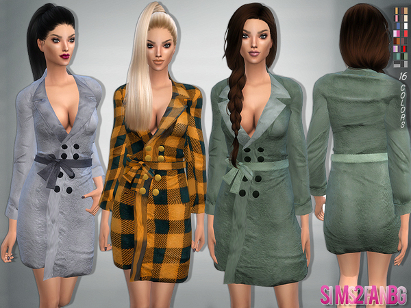 Bow belt coat by sims2fanbg at TSR image 1839 Sims 4 Updates