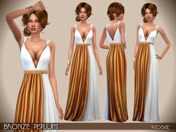 Sims 4 Bronze Peplum dress by Paogae at Tukete