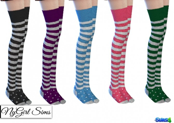 Stripes And Polka Dot Thigh High Socks At Nygirl Sims