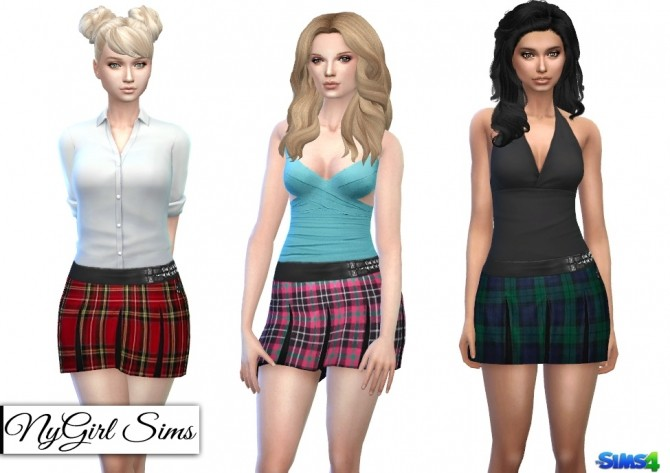 Sims 4 Leather and Plaid Pleated Skirt at NyGirl Sims