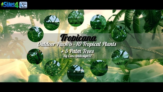 Sims 4 Outdoor Pack 5   10 Tropical Plants & 5 Palm Trees at ConceptDesign97