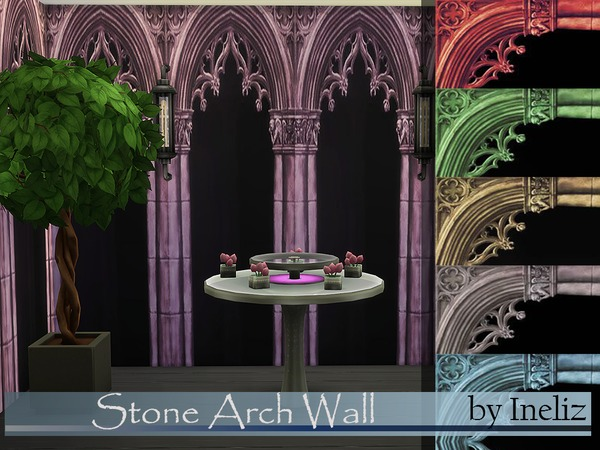 Sims 4 Stone Arch Wall by Ineliz at TSR