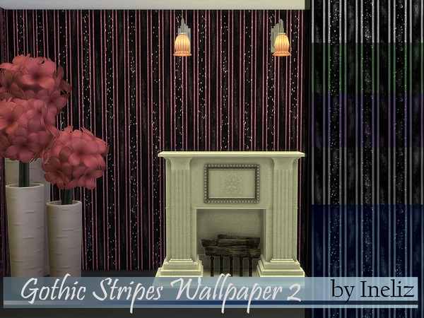 Gothic Stripes Wallpaper 2 by Ineliz at TSR image 2326 Sims 4 Updates