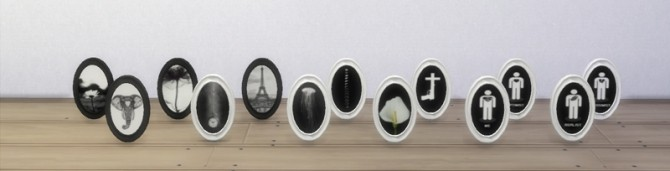 Sims 4 Black and White Oval Frames at Shenice93