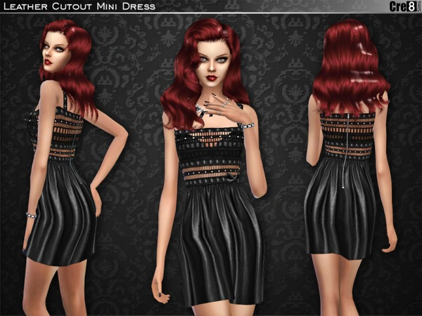 Sims 4 Leather Cut out Mini Dress by Cre8Sims at TSR