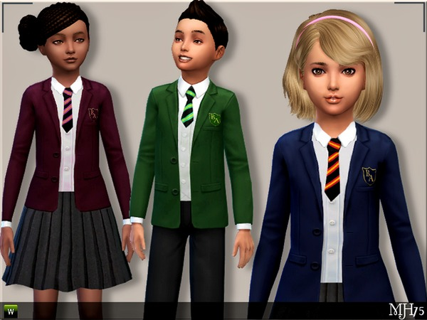 Sims 4 Child School Uniforms (M+F) by Margeh 75 at TSR