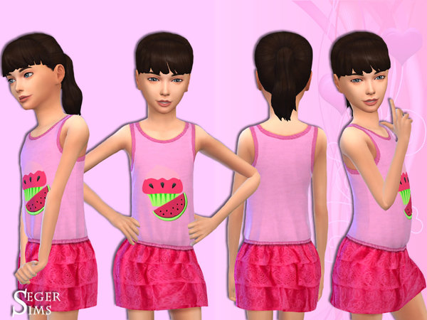 Sims 4 Pink outfit for a little girl by SegerSims at TSR
