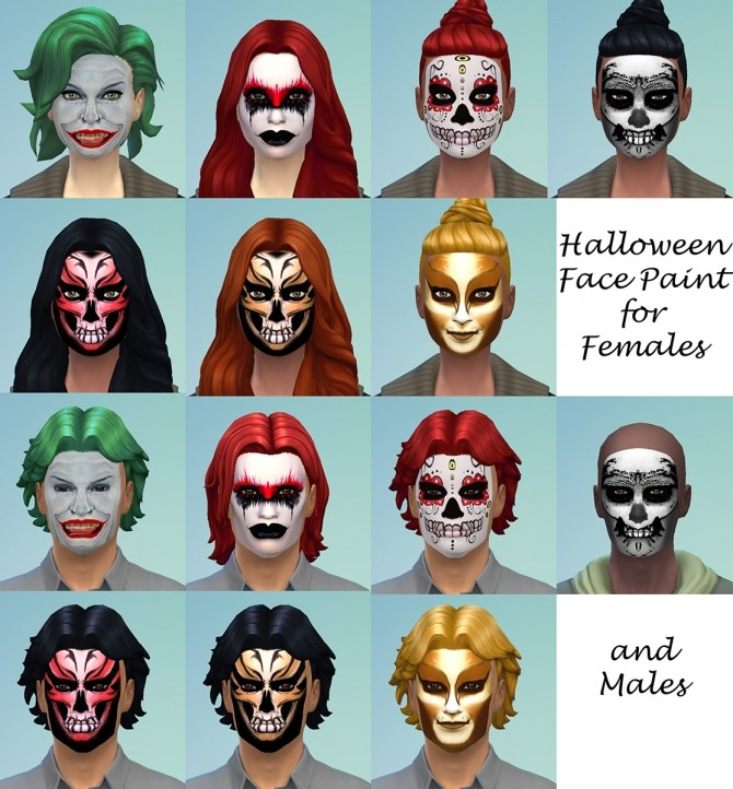 Sims 4 Halloween Face Paint by Simmiller at    select a Sites