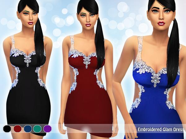Sims 4 Embroidered Glam Dress by Saliwa at TSR