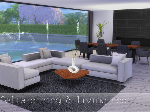 Celia dining and living room by spacesims at tsr sims 4 for Living room designs sims 4