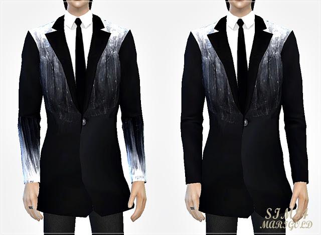 Sims 4 Black&white long suit jacket at Marigold