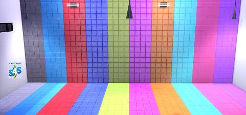Sims 4 Fluro Wall and Floor Tiles Set by wendy35pearly at Mod The Sims