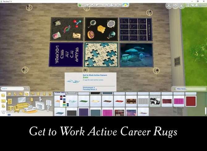 Sims 4 6 Get to Work Themed Rugs by Simmiller at Mod The Sims