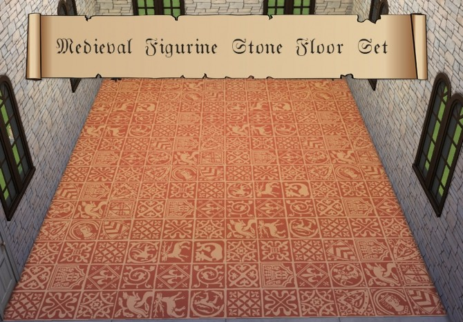 Sims 4 Medieval Figurine Stone Floor Set by HistoricalSimsLife at Mod The Sims
