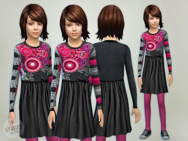 Sims 4 Multicolored Designer Dress by lillka at TSR