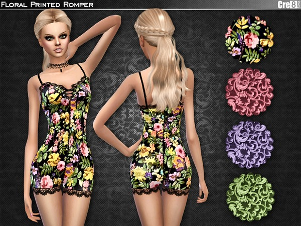 Sims 4 Floral Romper by Cre8Sims at TSR