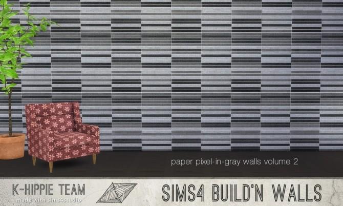 Sims 4 7 Paper Walls Pixel in Gray volume 2 at K hippie