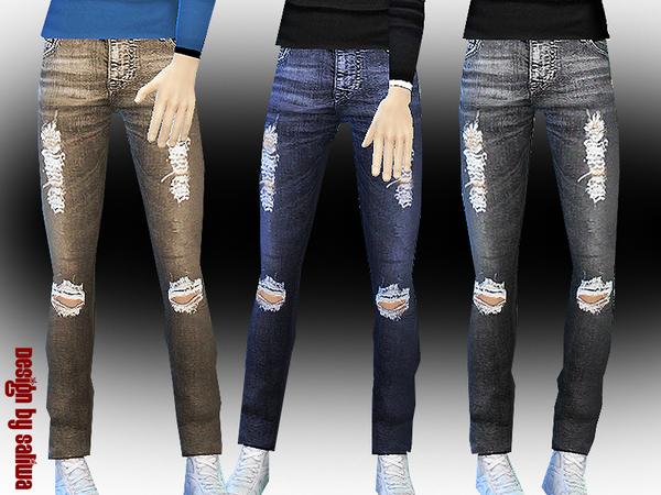 Sims 4 Mens Ripped Jeans by Saliwa at TSR