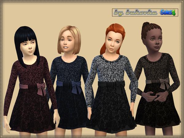 Sims 4 Dress Tweed and Lace by Bukovka at TSR