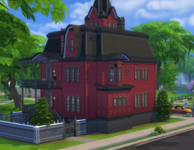 Sims 4 Alternate Goth Mansion, no CC by plasticbox at Mod The Sims