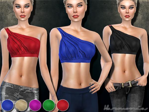Draped One Shoulder Bikini Top by Harmonia at TSR image 4618 Sims 4 Updates