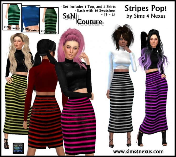 Stripes Pop outfit at Sims 4 Nexus image 468 670x599 Sims 4 Updates