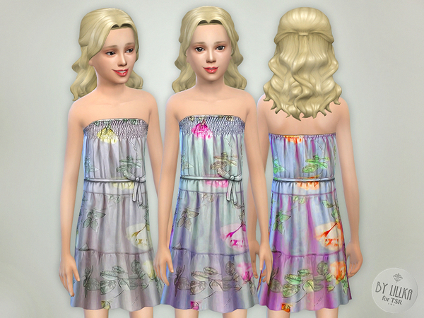 Sims 4 Flowing Voile Dress by lillka at TSR