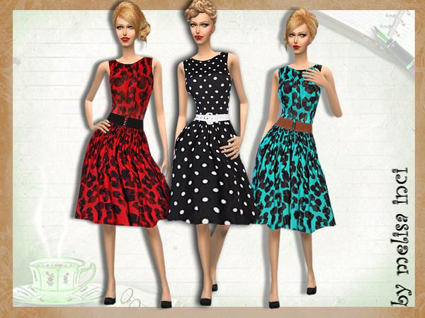 Sims 4 Retro Style Dress by melisa inci at TSR
