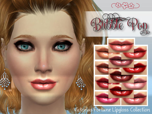 Sims 4 Victorias Fortune Bubble Pop Lipgloss Collection by fortunecookie1 at    select a Sites