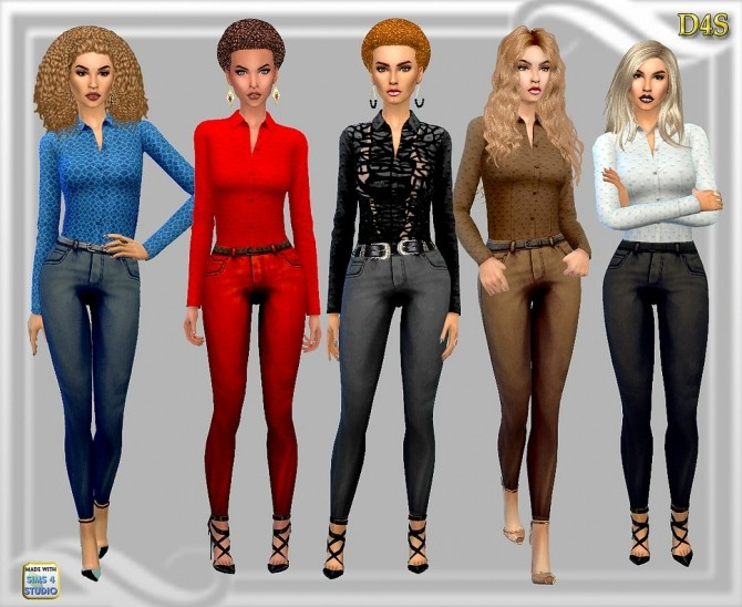 Sims 4 Jeans + shirt outfit at Dreaming 4 Sims