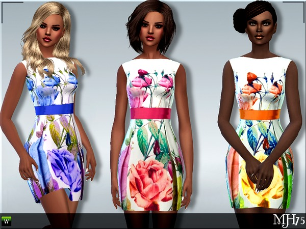 Sims 4 S4 Floral Dresses by Margeh 75 at TSR